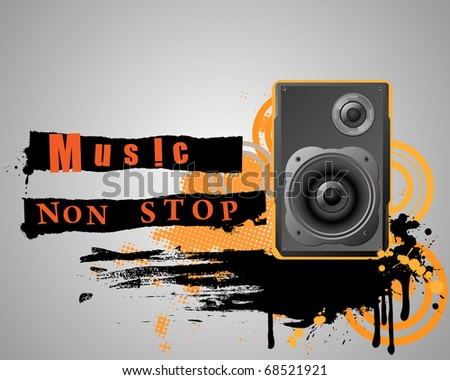 Musical grunge composition with speaker. Vector organized in layers for usability.