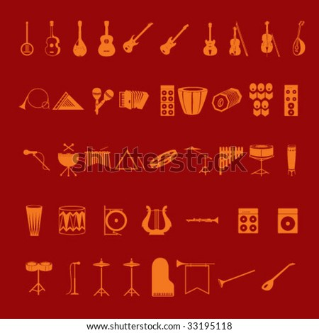 musical icons - stock vector