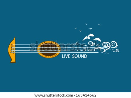Musical illustration with concept guitar and nature - stock vector
