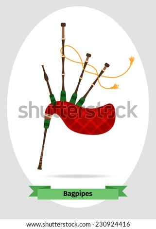 Musical instrument bagpipes - stock vector