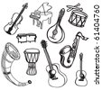 musical instrument doodles - stock vector