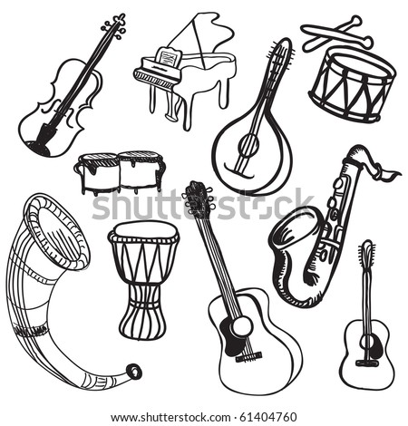 musical instrument doodles