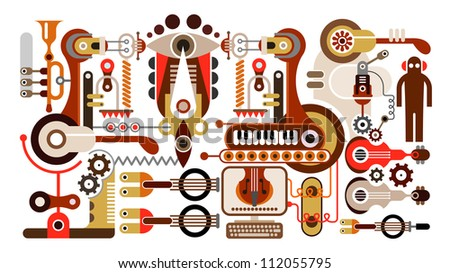 Musical instrument factory - abstract vector illustration. Isolated on white background.