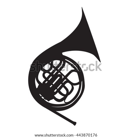 Musical Instrument Horn, which is Used in Symphony Orchestras and Brass Nands. Vector Illustration. EPS10 - stock vector