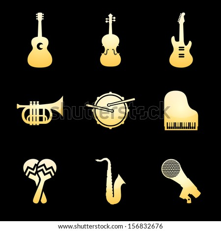Musical Instrument Icons Gold Music Icon Set - stock vector