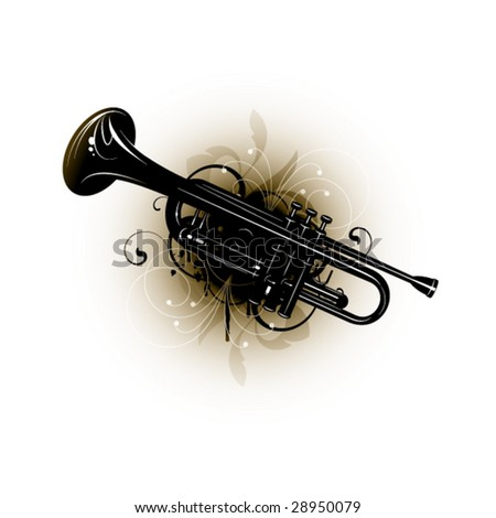 musical instrument on a floral background - stock vector
