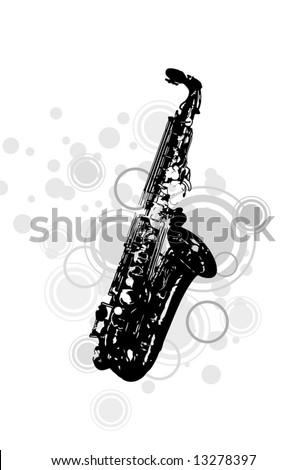 musical instrument the saxophone with decorative elements - stock vector