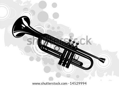 musical instrument the trumpet with decorative elements - stock vector