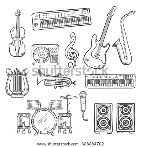 Musical instruments and equipments sketch icons of electric guitar, microphone and saxophone, trumpet, drum set, record player and synthesizers, lyre and violin, loudspeakers and treble clef  - stock vector