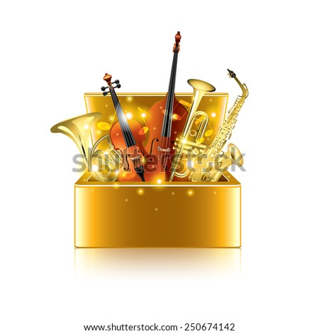 Musical instruments box isolated on white photo-realistic vector illustration - stock vector