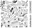 Musical instruments - doodles collection - stock vector