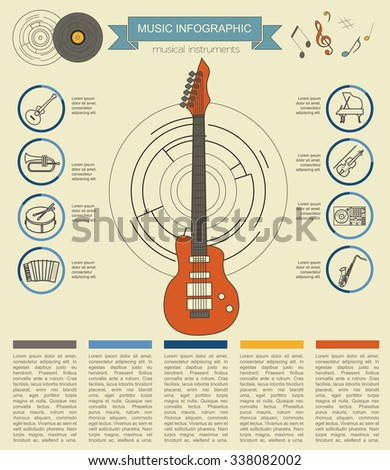 Musical instruments graphic template. All types of musical instruments infographic. Vector illustration - stock vector