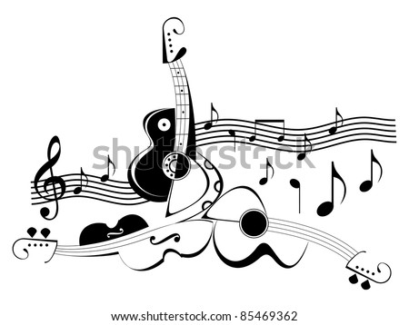 Musical instruments - guitars and violin. Black and white abstract vector illustration. String instruments and music notes. - stock vector