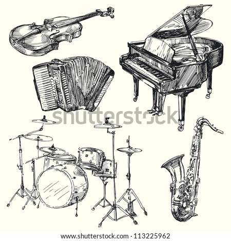 musical instruments - hand drawn collection - stock vector