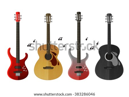 musical instruments icons set. electric guitar and classical guitar isolated on white background - stock vector