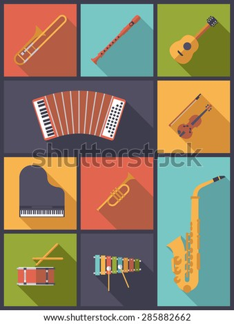 Musical Instruments Icons Vector Illustration. Vertical flat design illustration with icons of musical instruments children can learn. - stock vector