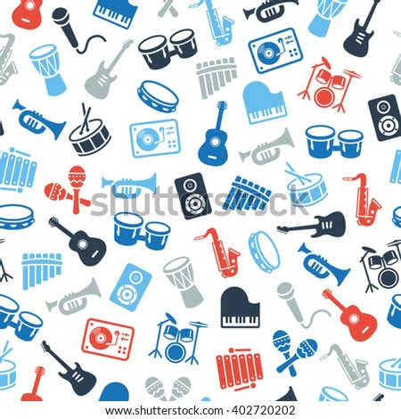 Musical instruments icons - wallpaper, seamless pattern. Can be used on print materials or on websites with subjects related to music, dance, singing, concerts or playing musical instruments.