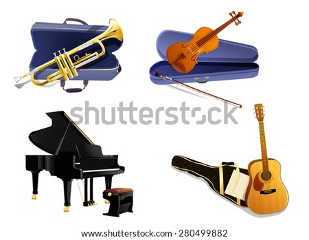Musical Instruments Package - Isolated Vector Illustration - stock vector