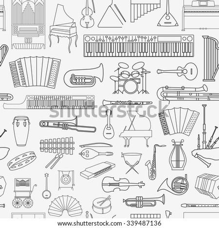 Musical instruments seamless pattern. Vector illustration - stock vector