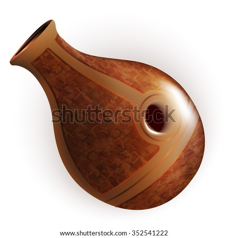 Musical instruments series. Traditional African clay udu pot drum, isolated on white background. Vector illustration - stock vector