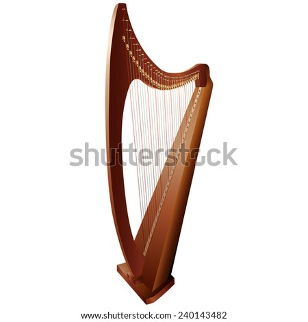 Musical instruments series. Traditional Celtic harp, isolated on white background. Vector illustration - stock vector