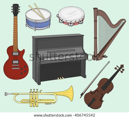Musical instruments set - stock vector