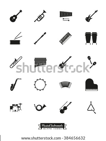 Musical Instruments Silhouette Icon Set. Collection of 20 music related glyph symbols - stock vector