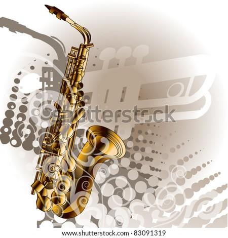 Musical jazz sax - stock vector
