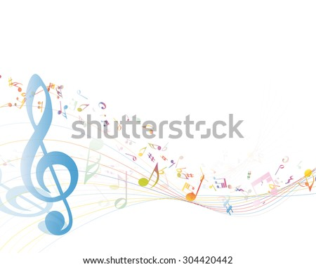 Musical Key with notes row. Illustration with transparency. - stock vector
