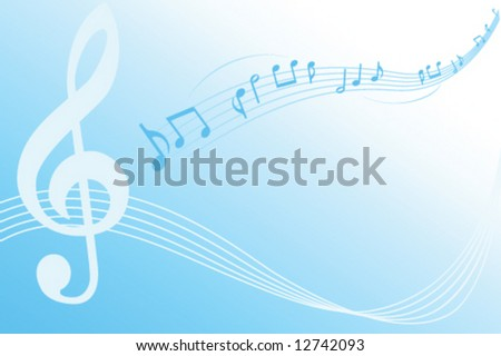 musical lines with notes on blue. Vector illustration - stock vector