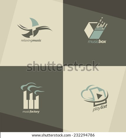 Musical logo design concepts. Set of music vector symbols. Corporate logotype for production or sound media business. Icons and banners collection. - stock vector