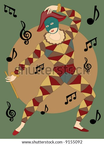 Musical masked man with flute dancing around notes in poster style