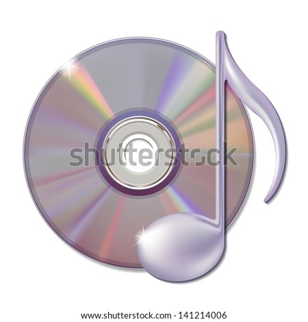 Musical note and cd disk - music icon. Vector illustration - stock vector
