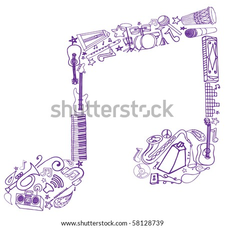 Musical Note Made of Doodles - stock vector