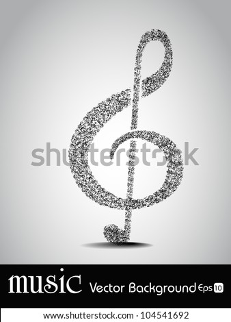 Musical note made with lots of musical notes isolated on grey background.EPS 10, can be use as banner, tag, icon, sticker, flyer or poster. Vector illustration in EPS 10. - stock vector