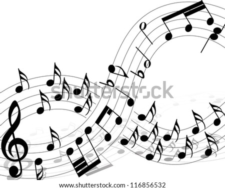 Musical note staff with lines. Vector illustration. - stock vector