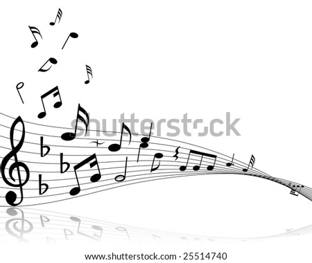 Musical note stuff  vector backgrounds with notes and lines