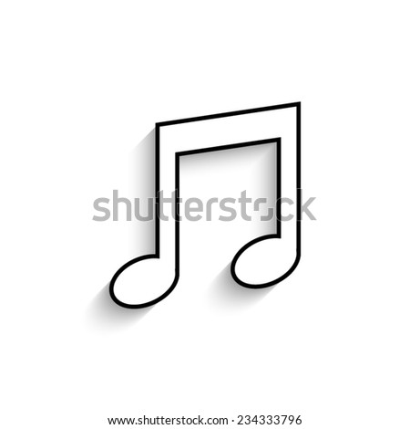 Musical note - vector icon with shadow - stock vector
