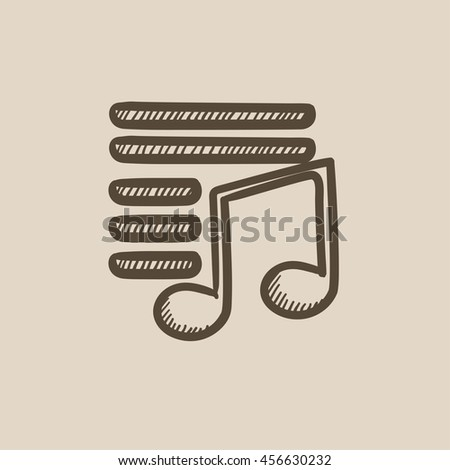 Musical note vector sketch icon isolated on background. Hand drawn Musical note icon. Musical note sketch icon for infographic, website or app. - stock vector