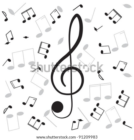 Musical notes and treble clef, for your design. - stock vector