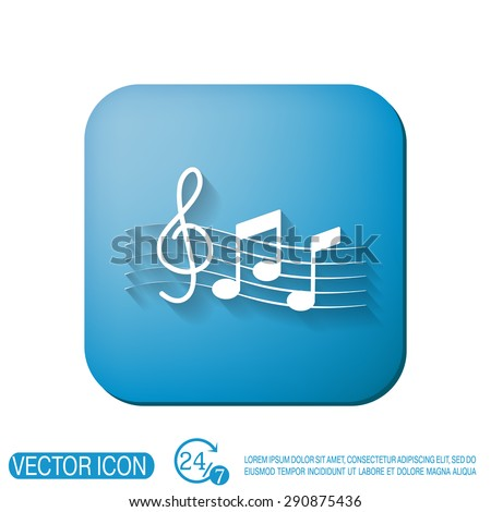Musical notes and treble clef. Symbol music. Icon art and musicality - stock vector