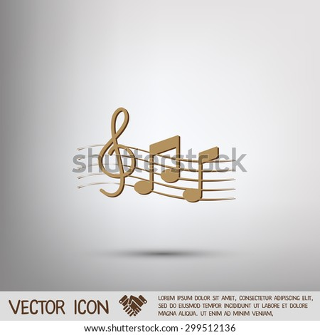 Musical notes and treble clef. Symbol muzykiki. Icon art and musicality - stock vector