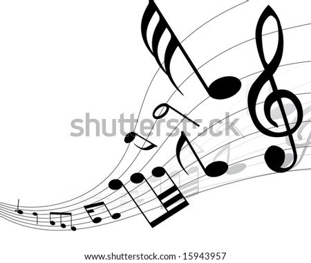 Musical notes background with lines. Vector illustration. - stock vector