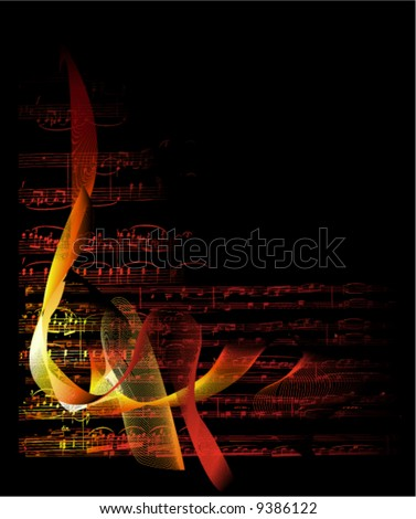 musical notes on fire background vector - stock vector