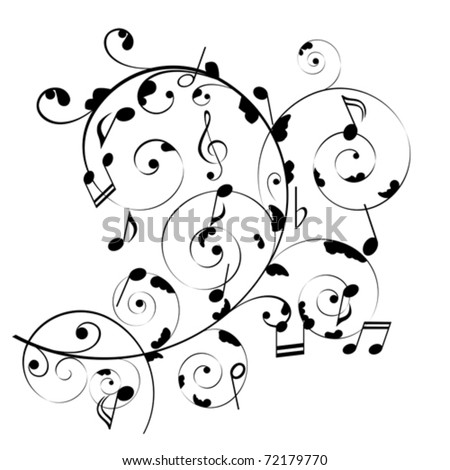Musical notes on swirly stave - stock vector