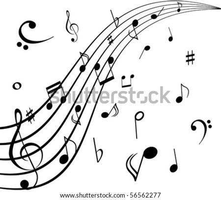 Musical notes on white background - stock vector