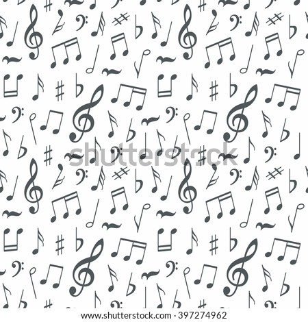 Musical notes seamless pattern background