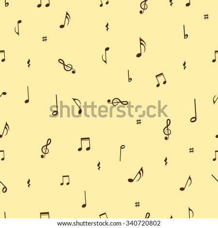 Musical notes seamless pattern background. Vector illustration. - stock vector