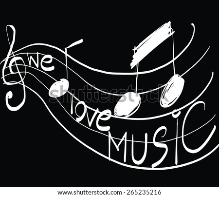 Musical notes staff background on Black. Vector illustration Sketch. - stock vector