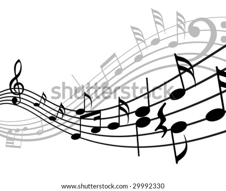 Musical notes stuff vector background for use in design - stock vector